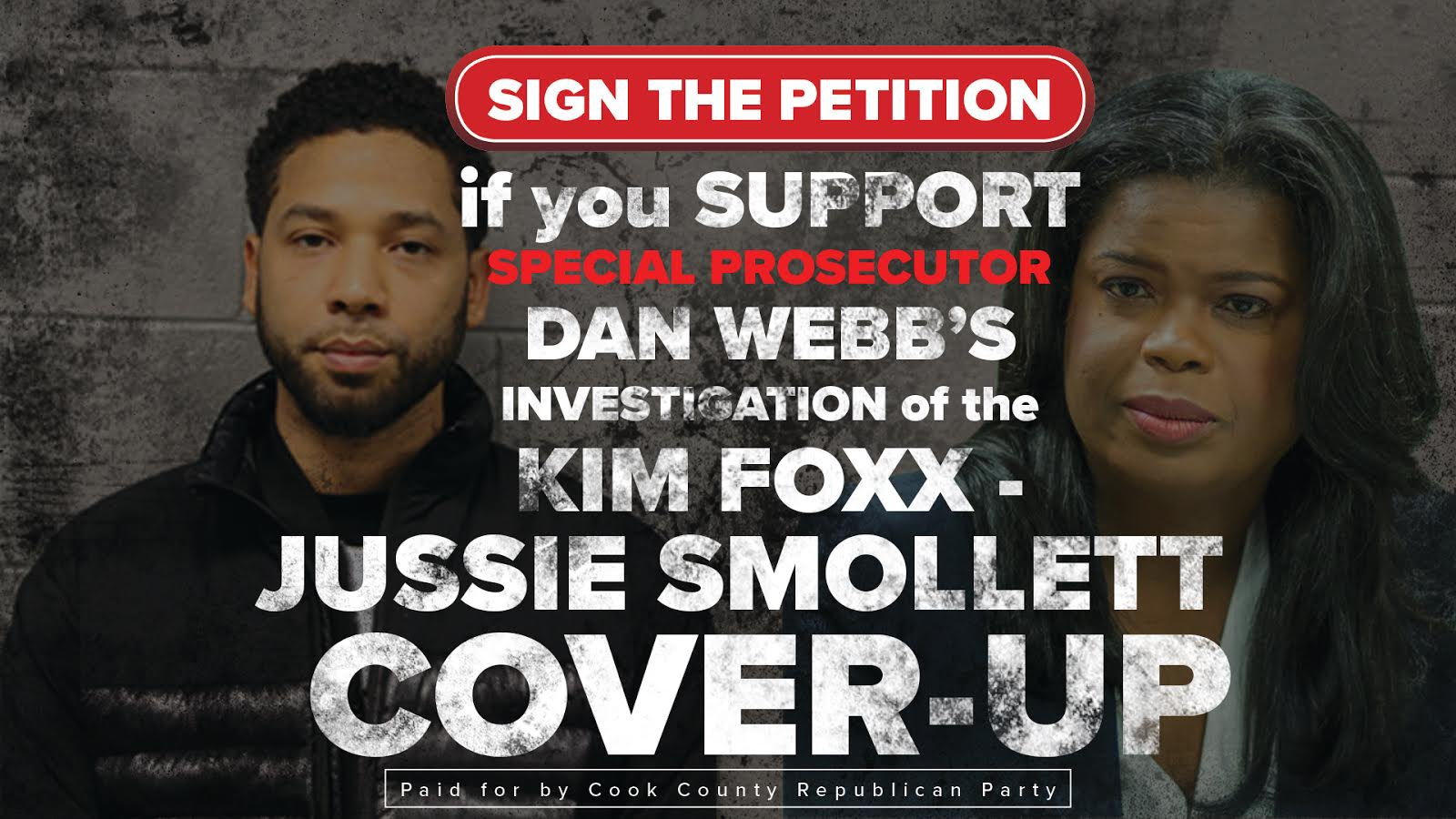 Sign this petition if you support special prosecutor Dan Webb's investigation of the Kim Foxx - Jussie Smollett cover-up.